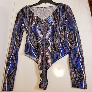Free People bodysuit criss-cross front thong NWT